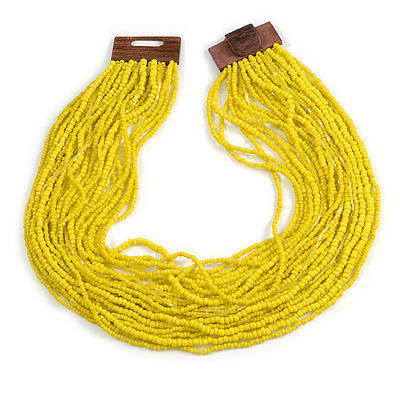 Statement Multistrand Lemon Yellow Glass Bead Necklace with Wood Closure - 60cm Long