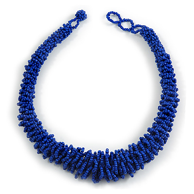 Chunky Graduated Blue Glass Bead Necklace - 46cm Long