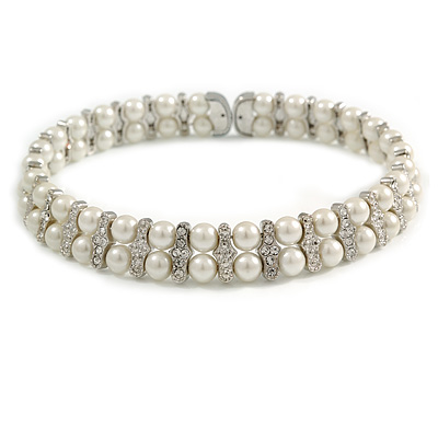 2 Row Statement Clear Crystal White Faux Glass Pearl Flex Choker/ Collar Necklace in Silver Tone