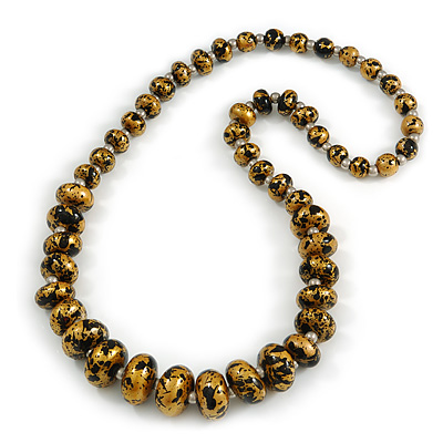 Graduated Wooden Bead Colour Fusion Necklace (Gold/ Black/ Metallic Silver) - 68cm Long