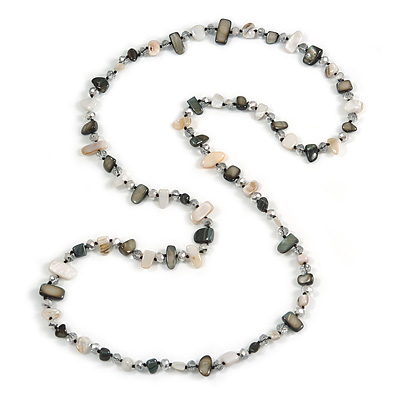 Long Grey/ Off White Shell Nugget and Transparent Glass Crystal Bead Necklace - 110cm L