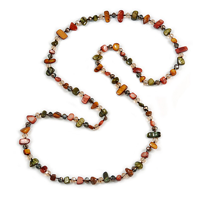 Long Olive/ Brown/ Ox blood Shell Nugget and Glass Crystal Bead Necklace - 110cm L