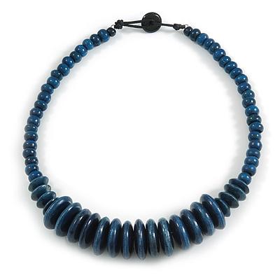 Worn Denim Blue Button, Round Wood Bead Wire Necklace - 46cm L