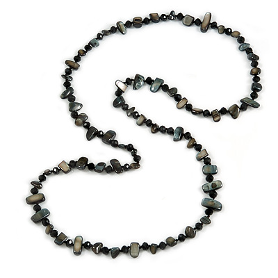 Long Black Shell Nugget and Glass Crystal Bead Necklace - 110cm L