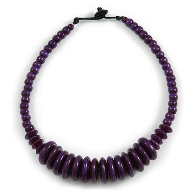 Deep Purple Button, Round Wood Bead Wire Necklace - 46cm L