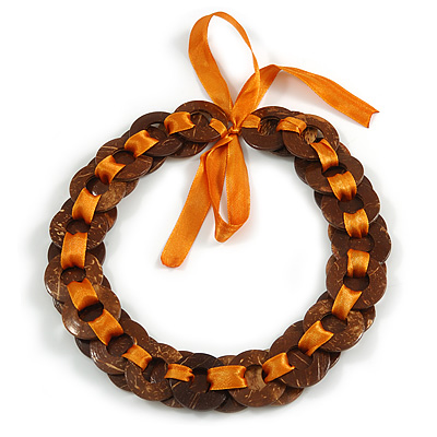Brown Wood Ring with Orange Silk Ribbon Necklace - 49cm L/ 20cm L Ribbon Ext