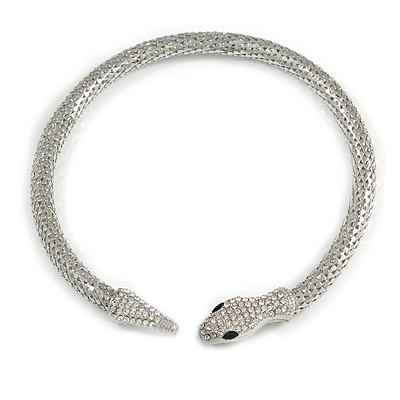 Silver Tone Clear Crystal Snake Flex Collar Necklace