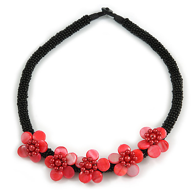 Black/ Red Glass Bead with Shell Floral Motif Necklace - 48cm Long - main view