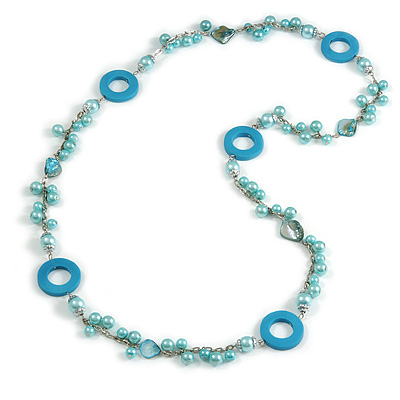 Long Light Blue Pearl, Shell and Resin Ring with Silver Tone Chain Necklace - 104cm Long
