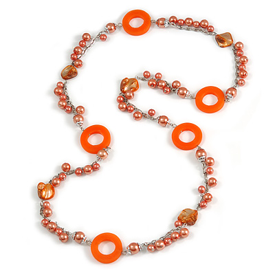 Long Peach Orange Pearl, Shell and Resin Ring with Silver Tone Chain Necklace - 104cm Long - main view