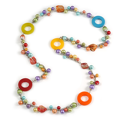 Long Multicoloured Pearl, Shell and Resin Ring with Silver Tone Chain Necklace - 104cm Long