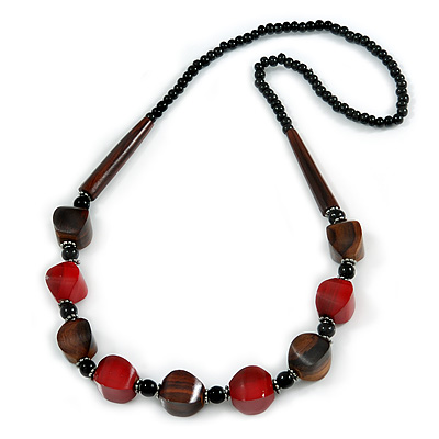 Chunky Dark Red/ Brown/ Black Wooden Bead Necklace - 80cm Long