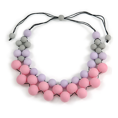 Pastel Pink/ Lavender/ Grey Resin Beaded Cotton Cord Necklace - 40cm L - Adjustable up to 48cm L