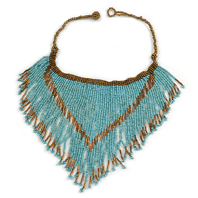 Statement Glass Bead Bib Style/ Fringe Necklace In Light Blue/ Bronze - 40cm Long/ 17cm Front Drop
