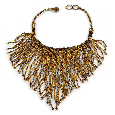 Statement Glass Bead Bib Style/ Fringe Necklace In Bronze - 40cm Long/ 17cm Front Drop