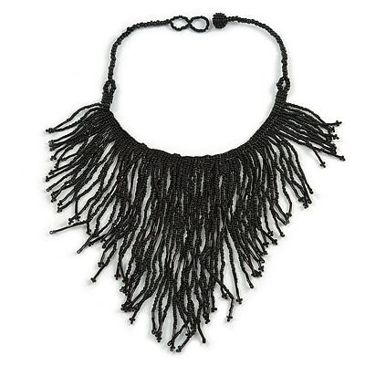 Statement Glass Bead Bib Style/ Fringe Necklace In Black - 40cm Long/ 17cm Front Drop