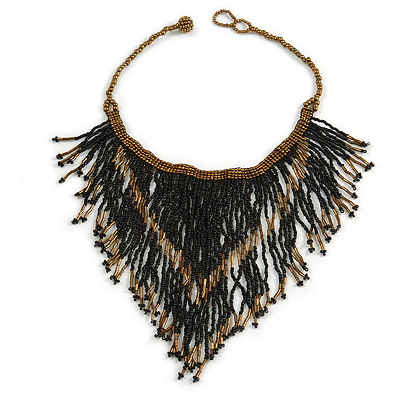 Statement Glass Bead Bib Style/ Fringe Necklace In Black/ Bronze - 40cm Long/ 17cm Front Drop
