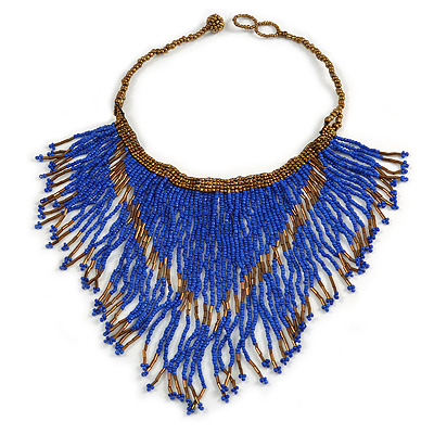 Statement Glass Bead Bib Style/ Fringe Necklace In Blue/ Bronze - 40cm Long/ 17cm Front Drop