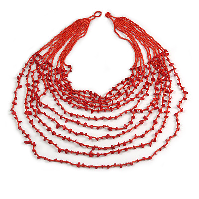 Statement Long Layered Multistrand Glass Bead and Semiprecious Stone Necklace In Red - 86cm Long