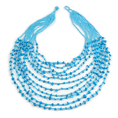 Statement Long Layered Multistrand Glass Bead and Semiprecious Stone Necklace In Light Blue - 86cm Long