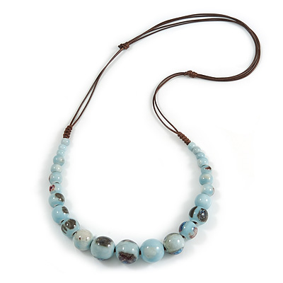 Light Blue Patterned Ceramic/ Clay Bead Brown Silk Cords Necklace - Adjustable - 60cm to 70cm Long
