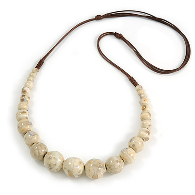 Cream Patterned Ceramic/ Clay Bead Brown Silk Cords Necklace - Adjustable - 60cm to 70cm Long