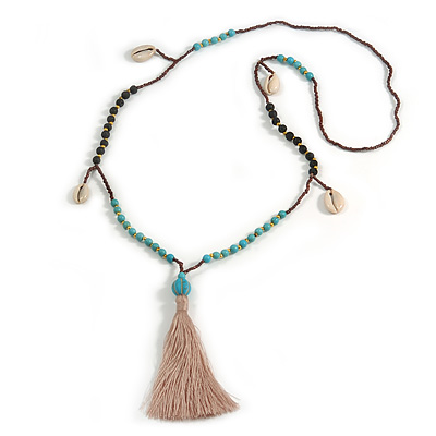 Trendy Turquoise, Sea Shell, Faux Tree Seed, Brown Glass Bead Beige Cotton Tassel Long Necklace - 90cm L/ 12cm Tassel
