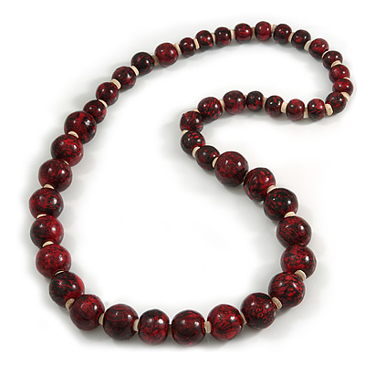 Animal Print Wooden Bead Necklace in Red/ Black - 78cm Long