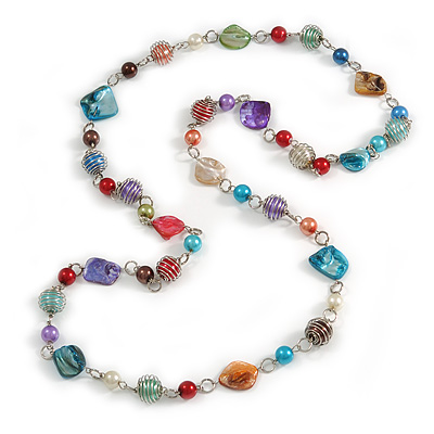 Long Multicoloured Glass and Shell Bead with Silver Tone Metal Wire Element Necklace - 110cm L - main view