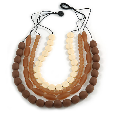 4 Strand Layered Resin Bead Black Cord Necklace In Coffee/ Amber Brown/ Cream - 66cm L