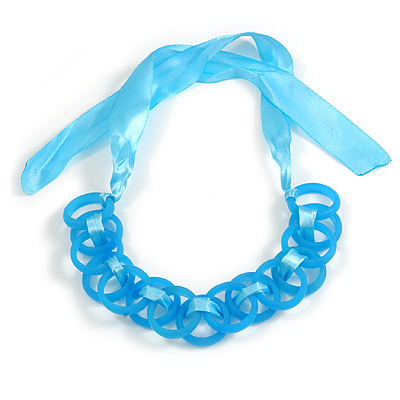 Contemporary Acrylic Ring Bib with Silk Ribbon Necklace in Light Blue - 46cm Long