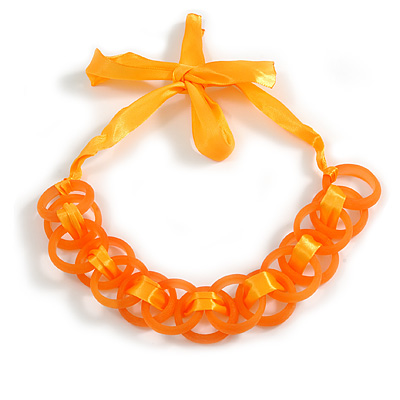 Contemporary Acrylic Ring with Silk Ribbon Necklace in Orange - 46cm Long