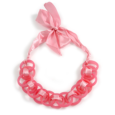 Contemporary Acrylic Ring Bib with Silk Ribbon Necklace in Pink - 46cm Long