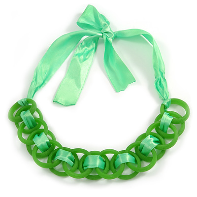 Contemporary Acrylic Ring Bib with Silk Ribbon Necklace in Green - 46cm Long