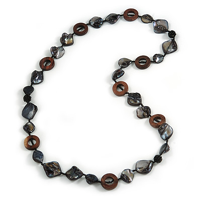 Black Shell, Brown Wood Ring and Black Glass Beads Necklace - 80cm Long