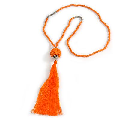 Orange Glass Bead Cotton Tassel Necklace - 72cm L/ 14cm Tassel