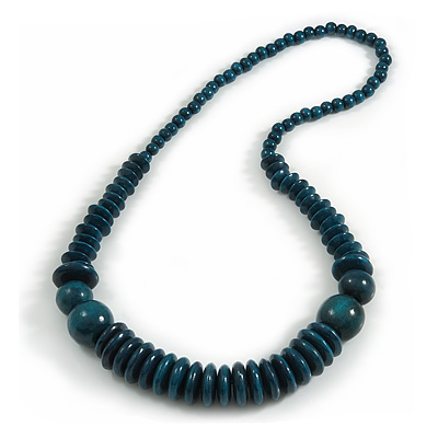 Teal Green Wood Bead Necklace - 70m Long