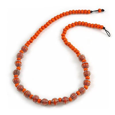 Orange Wood Bead with Silver Tone Wire Element Necklace - 66cm Length