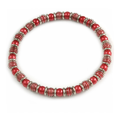 Red Acrylic Bead and Metal Ring Stretch Necklace In Silver Tone - 38cm L