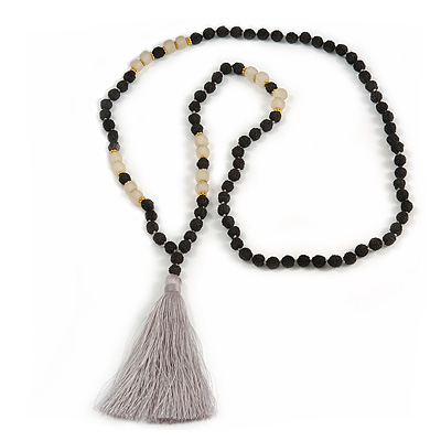 Statement Black Faux Tree Seed and Transparent Acrylic Bead Necklace with Light Grey Silk Tassel - 94cm L/ 10cm Tassel