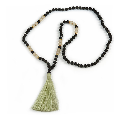 Statement Black Faux Tree Seed and Transparent Acrylic Bead Necklace with Light Green Silk Tassel - 94cm L/ 10cm Tassel