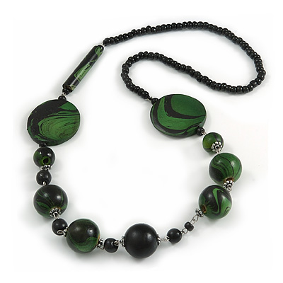 Stylish Animal Print Wooden Bead Necklace (Green/ Black) - 80cm Long