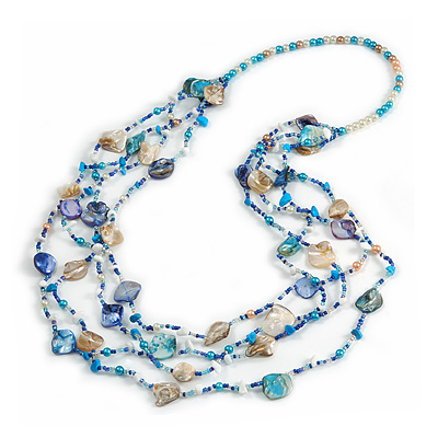 Long Multistrand Sea Shell/ Semiprecious Stone & Simulated Pearl Necklace in Inky Blue/ Antique White/ Sky Blue - 100cm L
