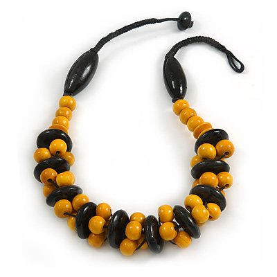 Yellow/ Black Chunky Wood Bead Cotton Cord Necklace - 48cm Long - main view