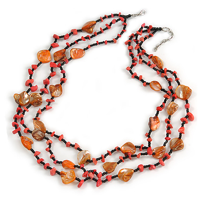 3 Strand Orange/ Black Glass, Shell Bead and Semiprecious Stone Necklace - 66cm Length