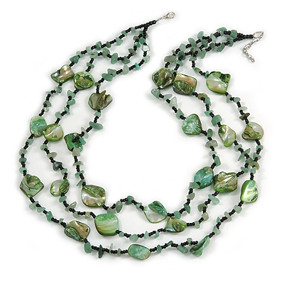 3 Strand Green/ Black Glass, Shell Bead and Semiprecious Stone Necklace - 66cm Length