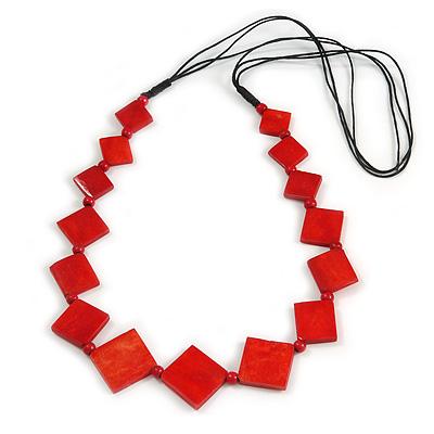 Long Red Bone Square Bead Black Cotton Cord Necklace - 82cm L