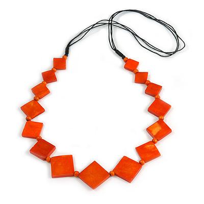 Long Orange Bone Square Bead Black Cotton Cord Necklace - 82cm L