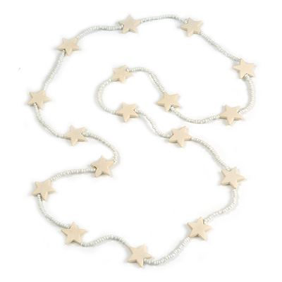 Long Acrylic Star Glass Bead Necklace in White/ Cream - 104cm Long
