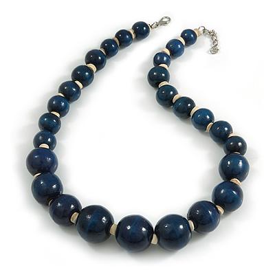 Dark Blue Wood Bead Necklace - 48cm L/ 3cm Ext